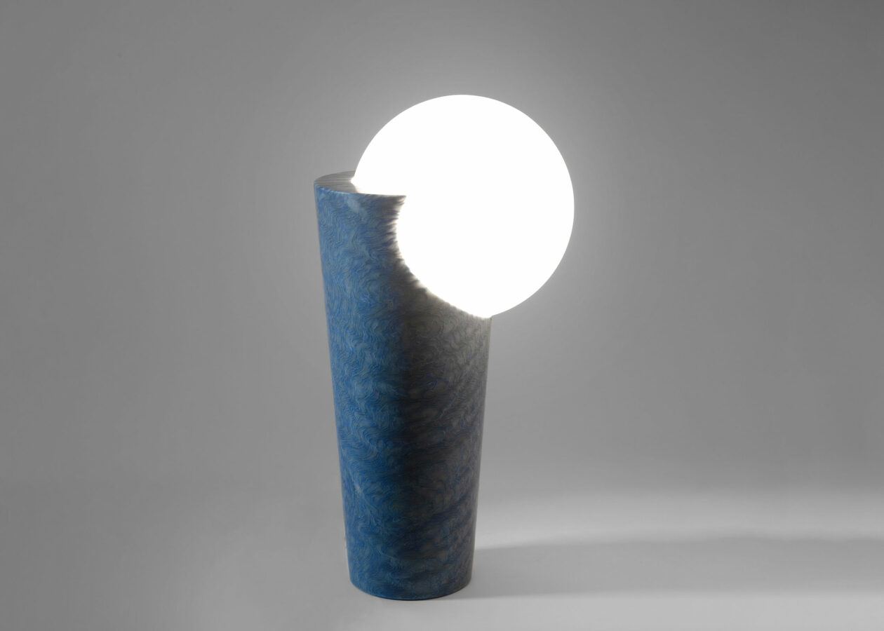 Emmanuel Babled Osmosi Light in Blue Macauba, a unique and limited edition dated of 2020.